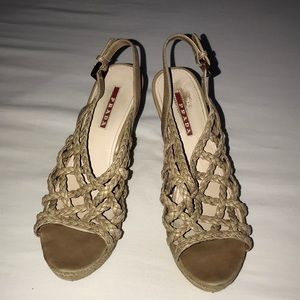 Prada braided leather wedge size 38 EU - US 8